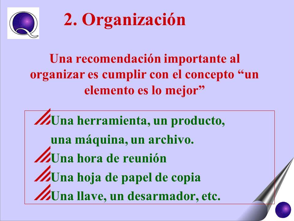 2. OrganizaciónUna recomendación importante al organizar es cumplir con el concepto un elemento es lo mejor