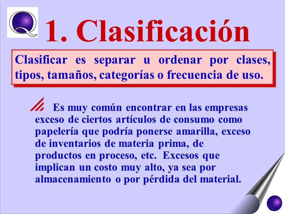 1. Clasificación Clasificar es separar u ordenar por clases, tipos, tamaños, categorías o frecuencia de uso.