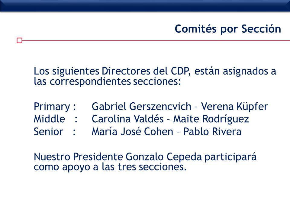 Comités por Sección Los siguientes Directores del CDP, están asignados a las correspondientes secciones:
