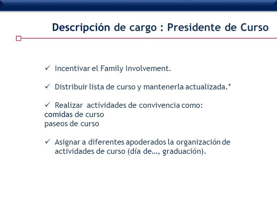 Descripción de cargo : Presidente de Curso