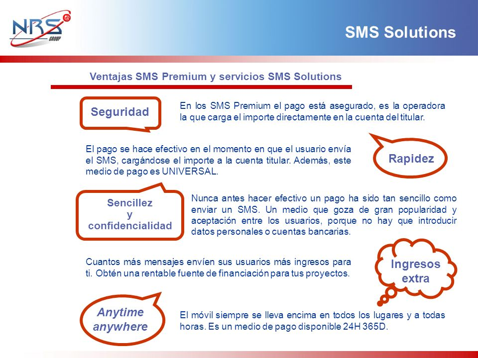 SMS Solutions Seguridad Rapidez Ingresos extra Anytime anywhere