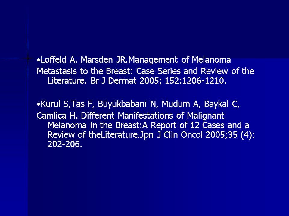 •Loffeld A. Marsden JR.Management of Melanoma
