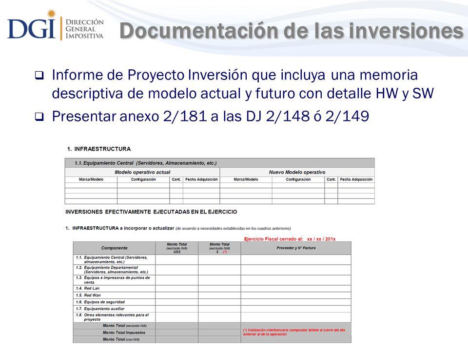 Documentación de las inversiones
