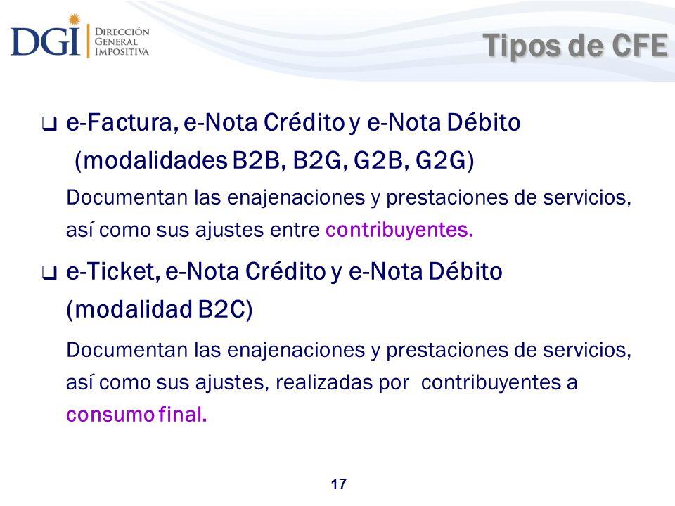 Tipos de CFE e-Factura, e-Nota Crédito y e-Nota Débito