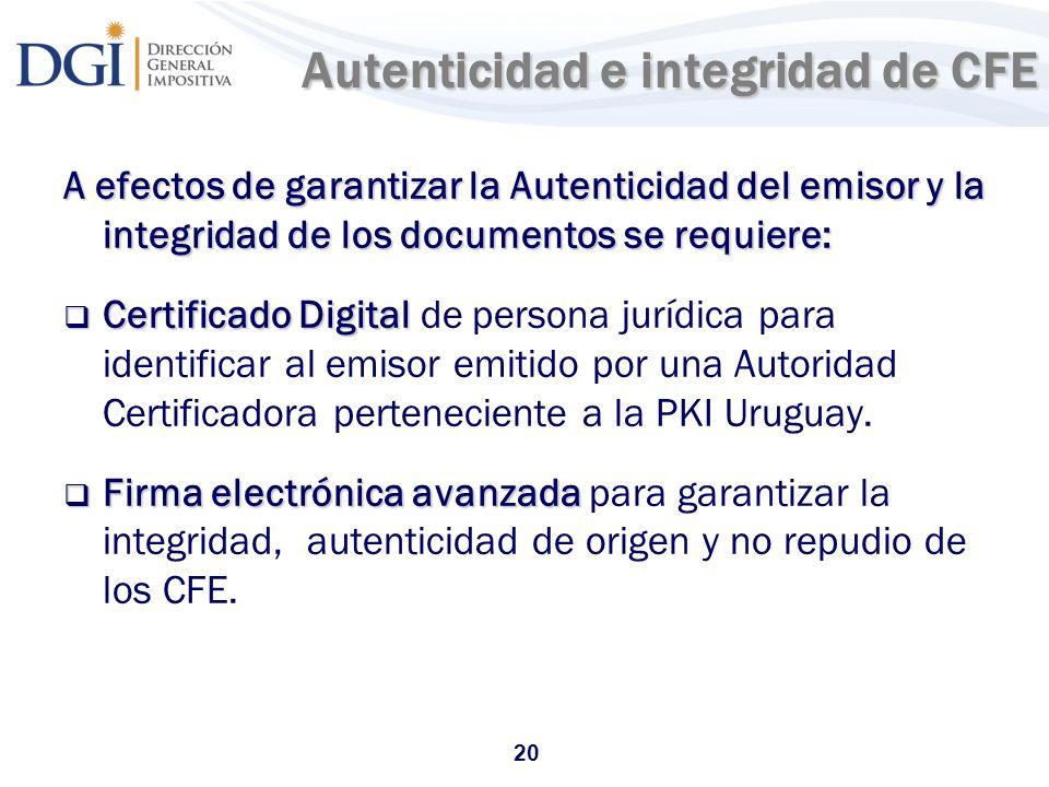 Autenticidad e integridad de CFE