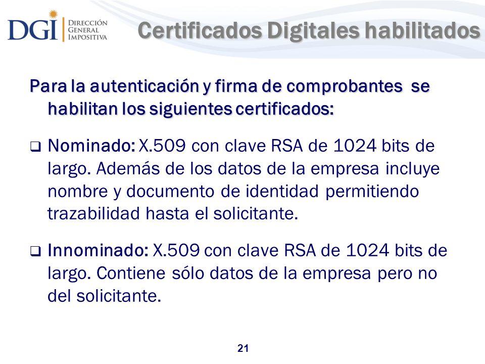 Certificados Digitales habilitados