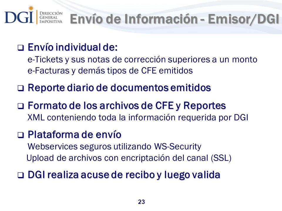 Envío de Información - Emisor/DGI