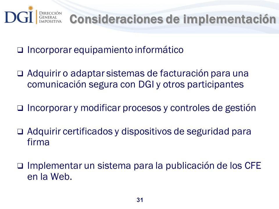 Consideraciones de implementación