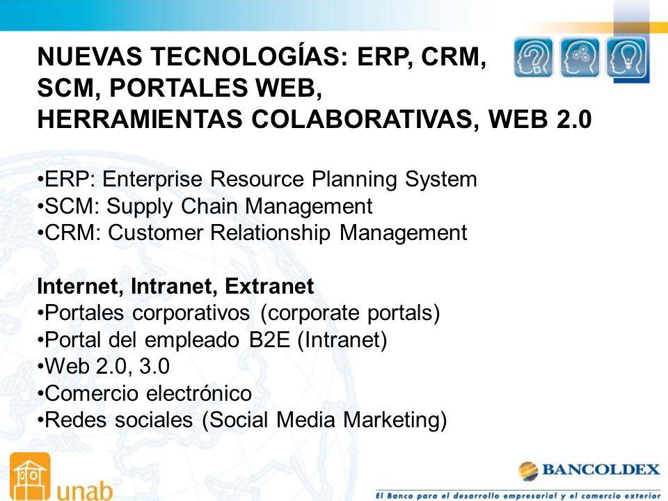 NUEVAS TECNOLOGÍAS: ERP, CRM, SCM, PORTALES WEB,