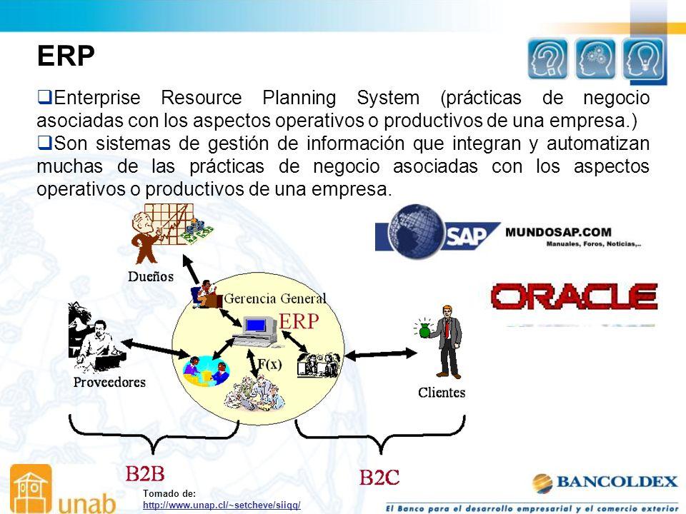 ERP Enterprise Resource Planning System (prácticas de negocio asociadas con los aspectos operativos o productivos de una empresa.)
