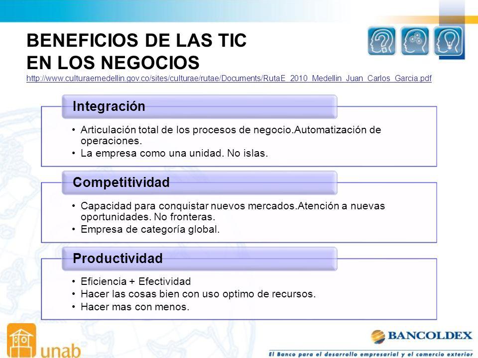 BENEFICIOS DE LAS TIC EN LOS NEGOCIOS Integración Competitividad