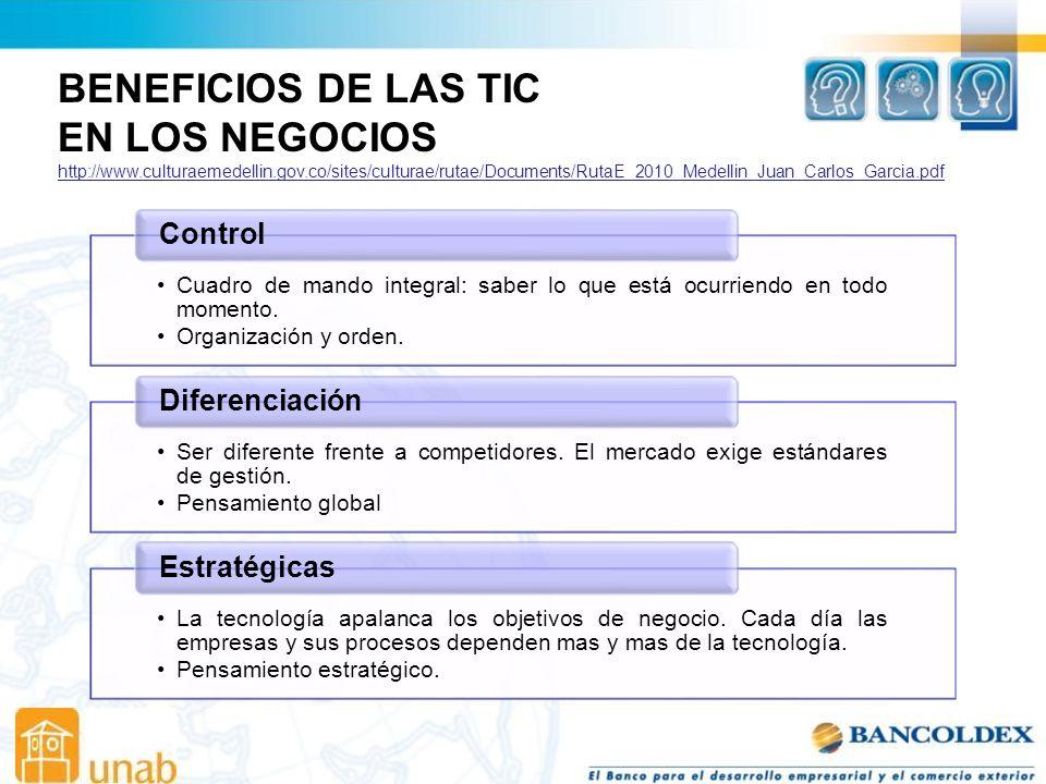 BENEFICIOS DE LAS TIC EN LOS NEGOCIOS Control Diferenciación