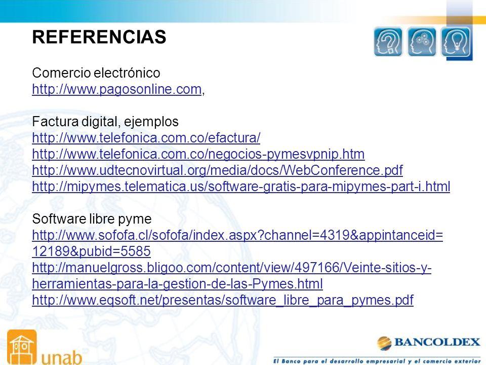REFERENCIAS Comercio electrónico http://www.pagosonline.com,