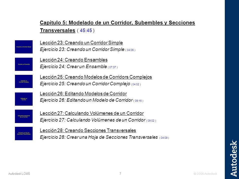 Capítulo 5: Modelado de un Corridor, Subembles y Secciones Transversales ( 45:45 )