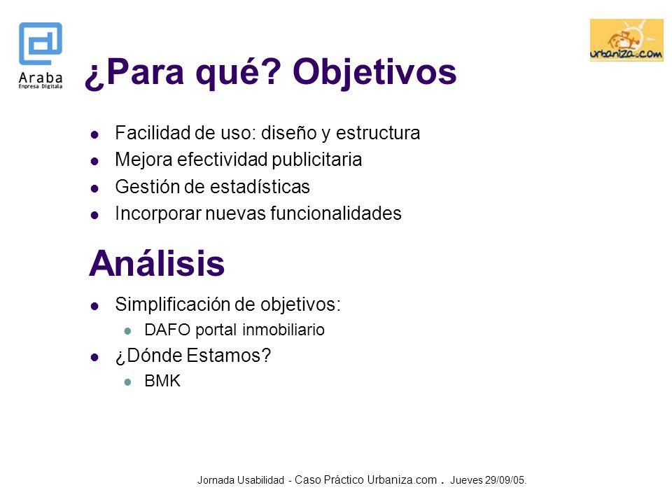 ¿Para qué Objetivos Análisis Facilidad de uso: diseño y estructura