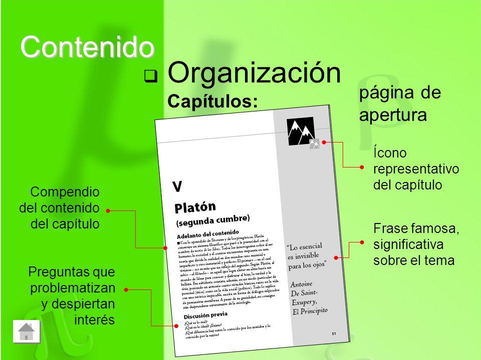 Contenido Organización Capítulos: página de apertura Ícono