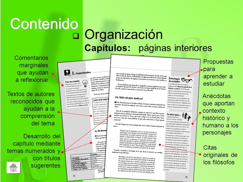 Contenido Organización Capítulos: páginas interiores