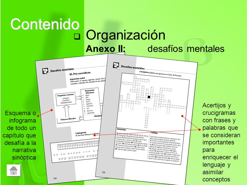 Contenido Organización Anexo II: desafíos mentales