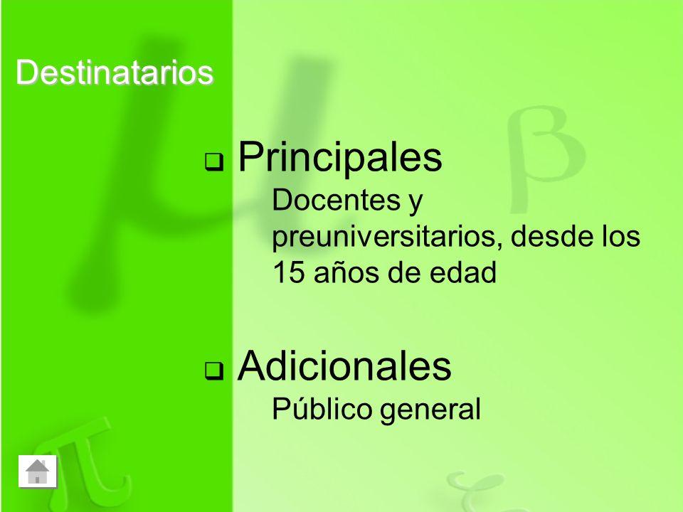 Principales Adicionales Destinatarios
