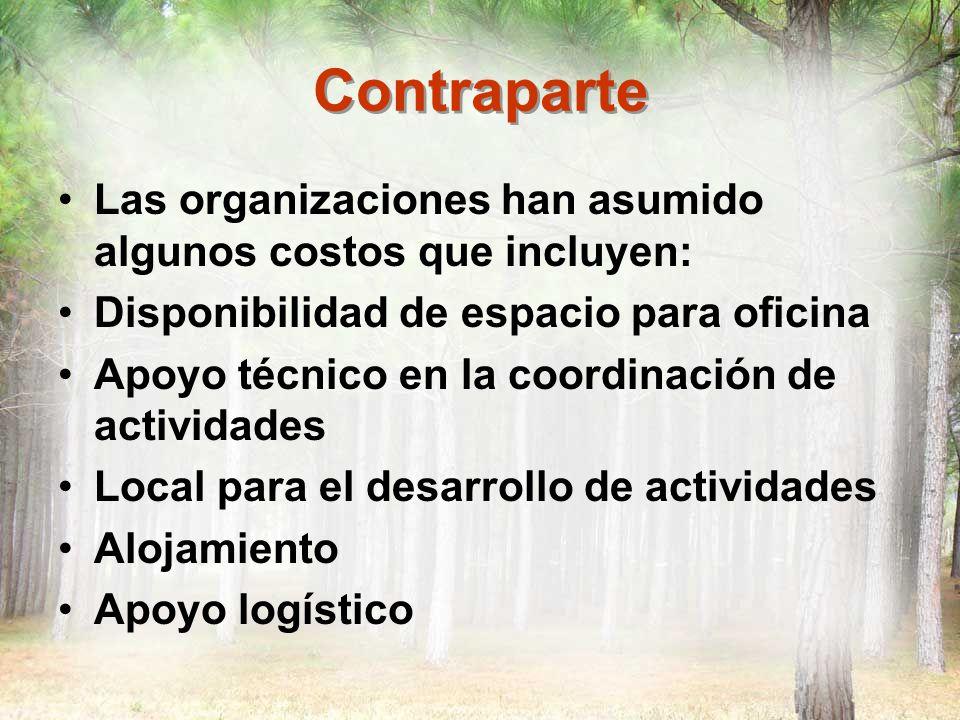 Contraparte Las organizaciones han asumido algunos costos que incluyen: Disponibilidad de espacio para oficina.