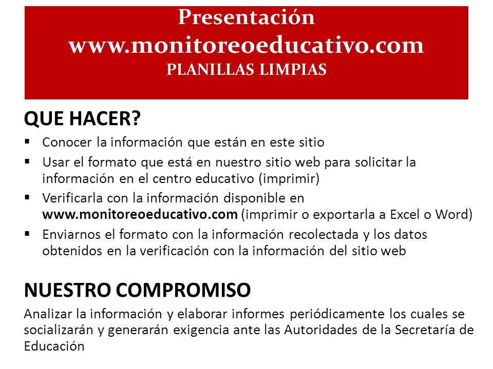 www.monitoreoeducativo.com Presentación QUE HACER NUESTRO COMPROMISO