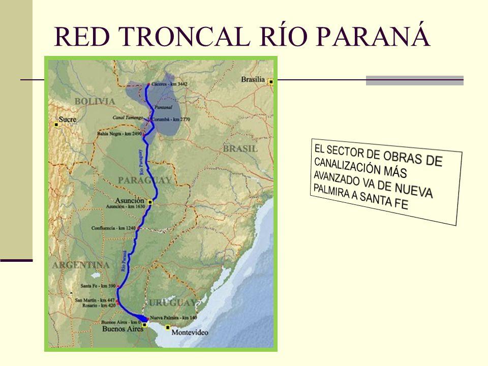 RED TRONCAL RÍO PARANÁ EL SECTOR DE OBRAS DE CANALIZACIÓN MÁS AVANZADO VA DE NUEVA PALMIRA A SANTA FE.
