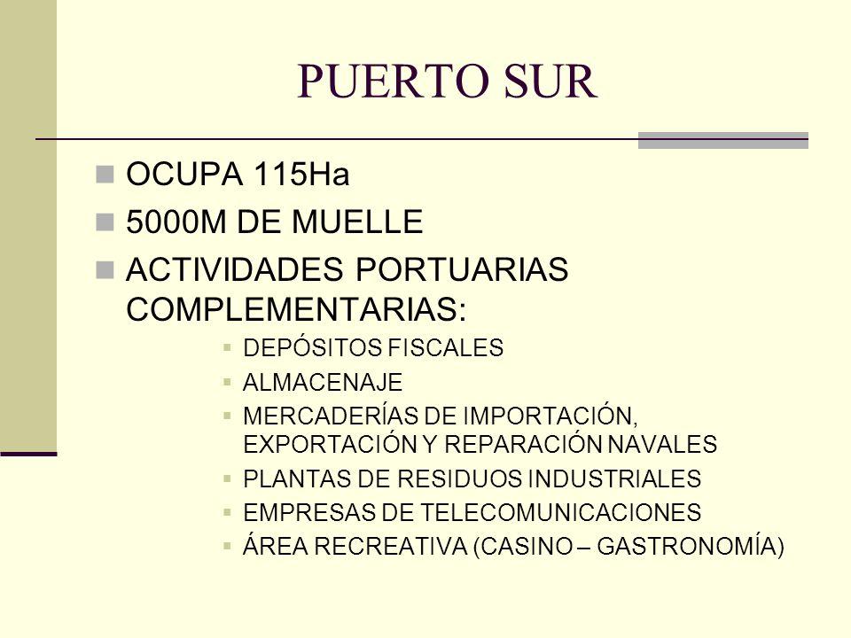 PUERTO SUR OCUPA 115Ha 5000M DE MUELLE