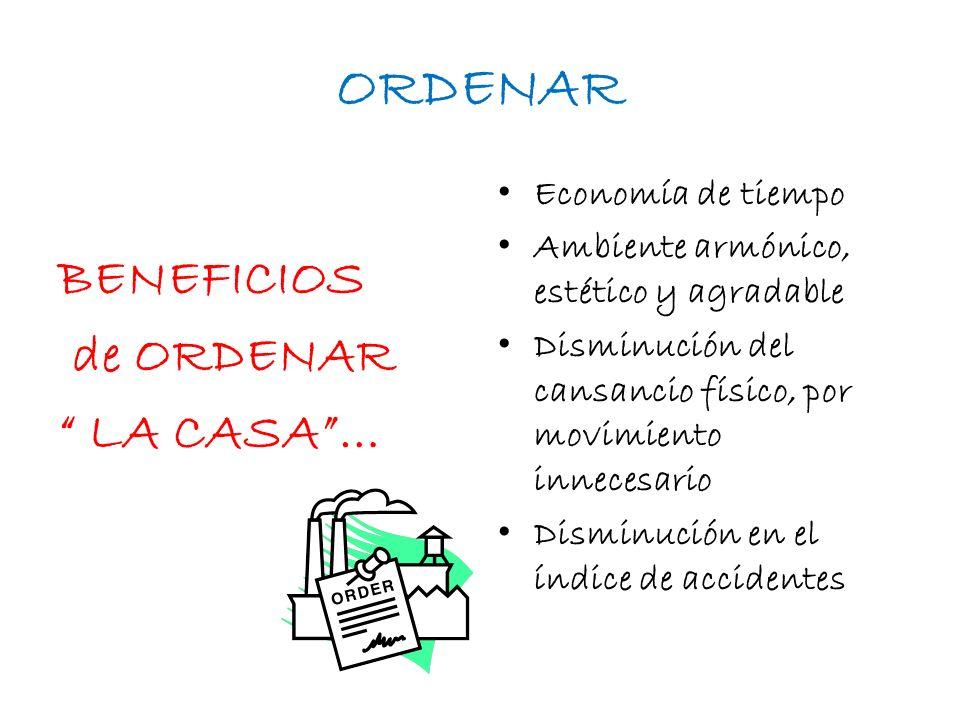 ORDENAR BENEFICIOS de ORDENAR LA CASA … Economía de tiempo