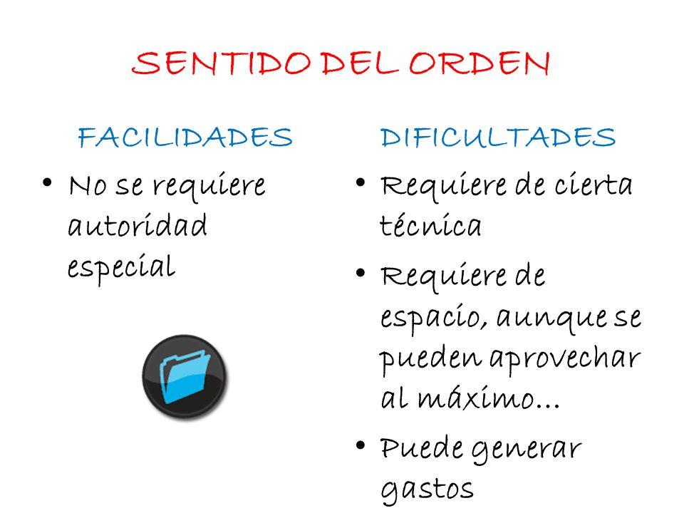 SENTIDO DEL ORDEN FACILIDADES DIFICULTADES