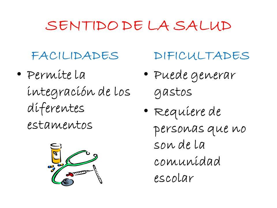 SENTIDO DE LA SALUD FACILIDADES DIFICULTADES