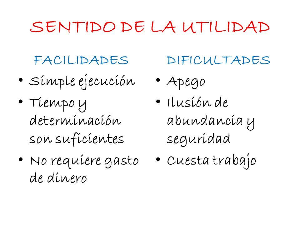 SENTIDO DE LA UTILIDAD FACILIDADES DIFICULTADES Simple ejecución