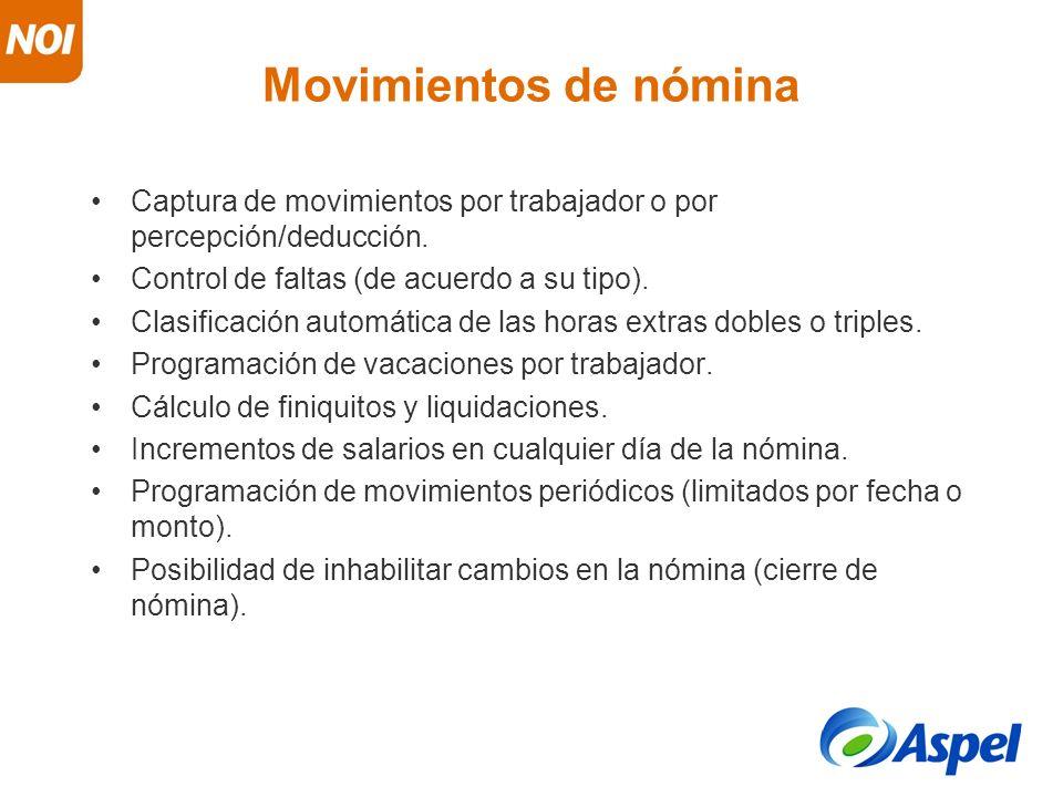 Movimientos de nómina Captura de movimientos por trabajador o por percepción/deducción. Control de faltas (de acuerdo a su tipo).