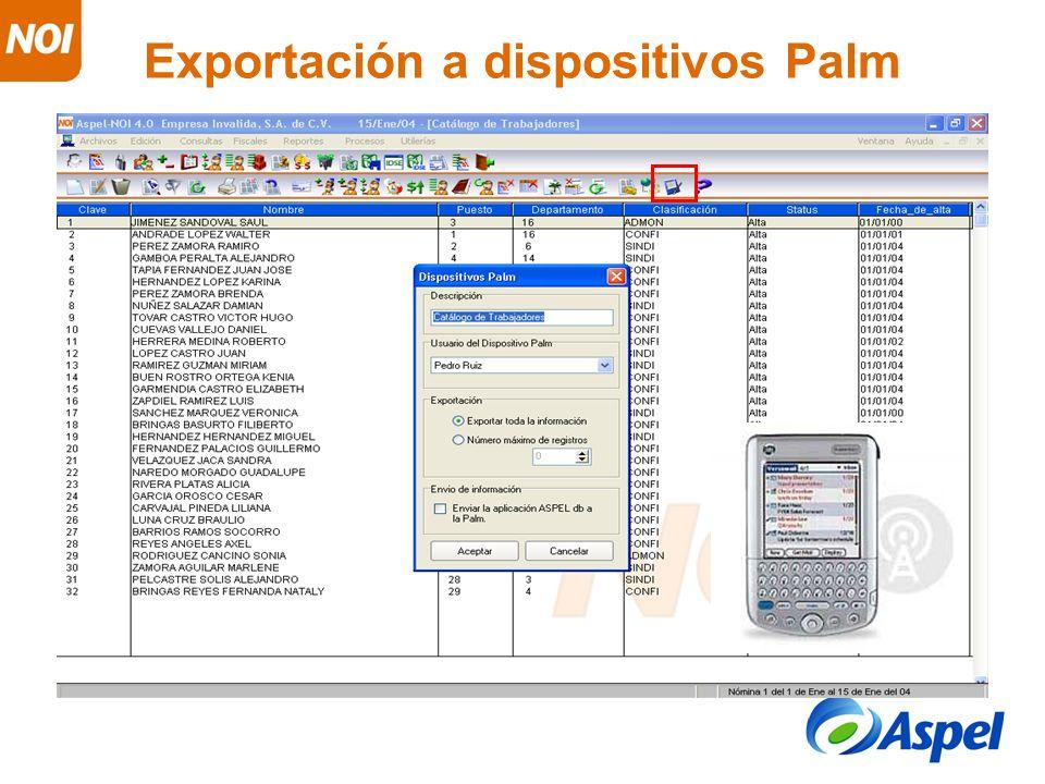 Exportación a dispositivos Palm