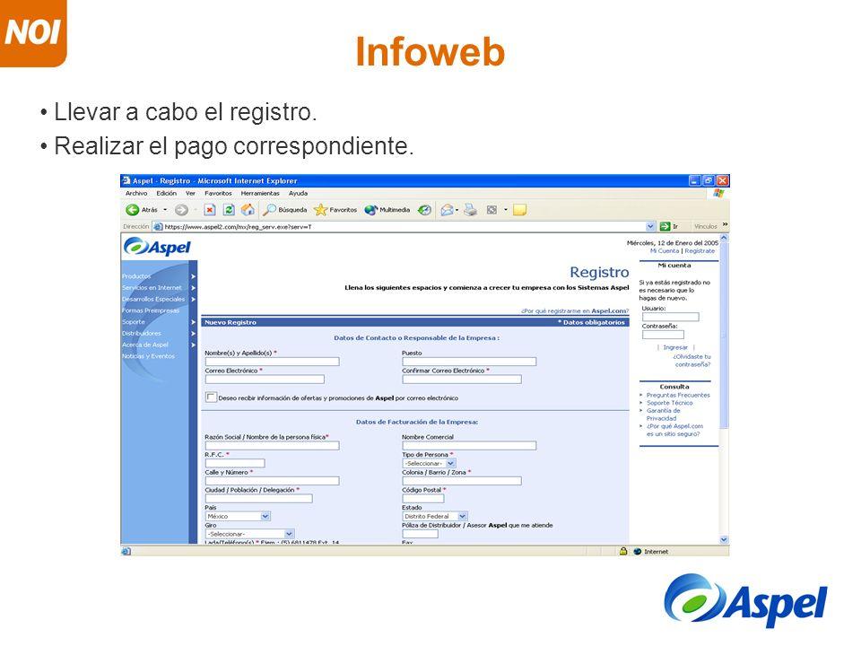 Infoweb Llevar a cabo el registro. Realizar el pago correspondiente.