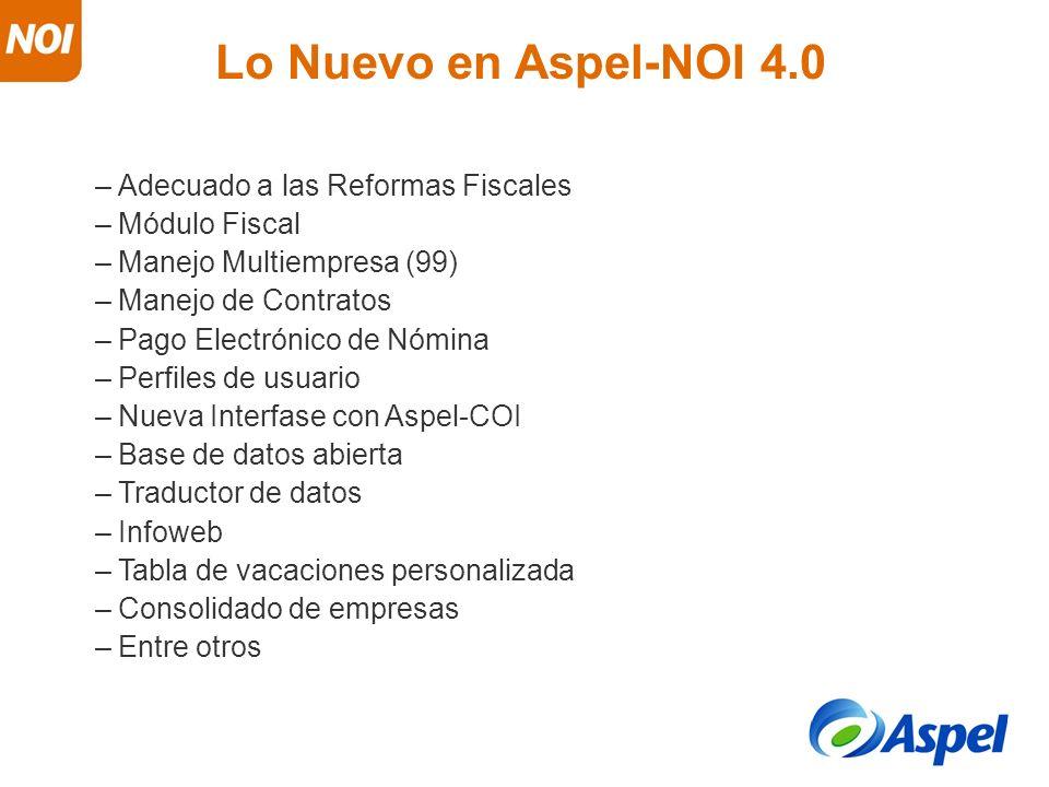 Lo Nuevo en Aspel-NOI 4.0 Adecuado a las Reformas Fiscales