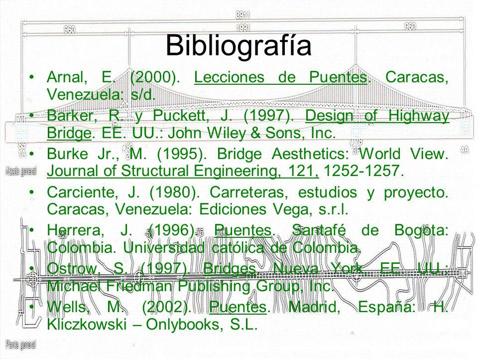 Bibliografía Arnal, E. (2000). Lecciones de Puentes. Caracas, Venezuela: s/d.