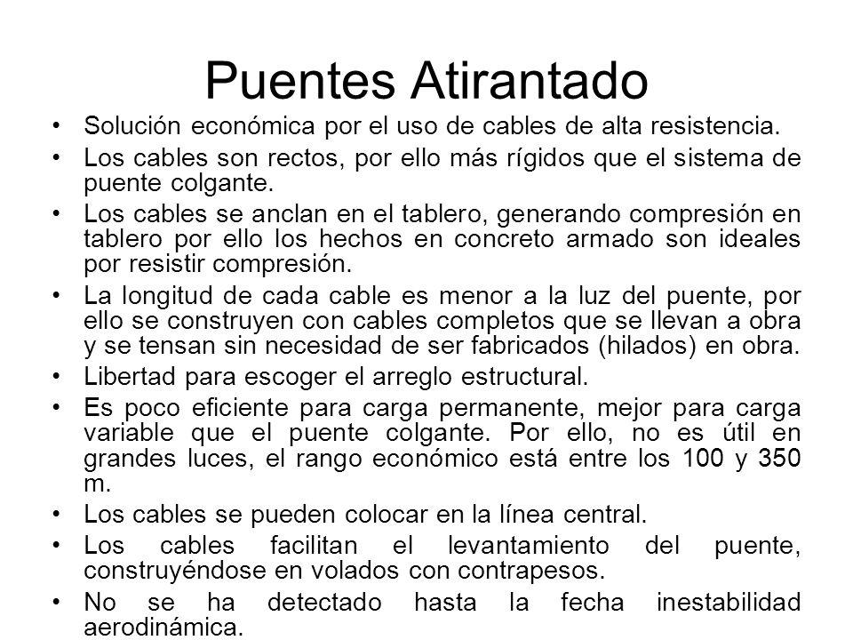 Puentes Atirantado Solución económica por el uso de cables de alta resistencia.