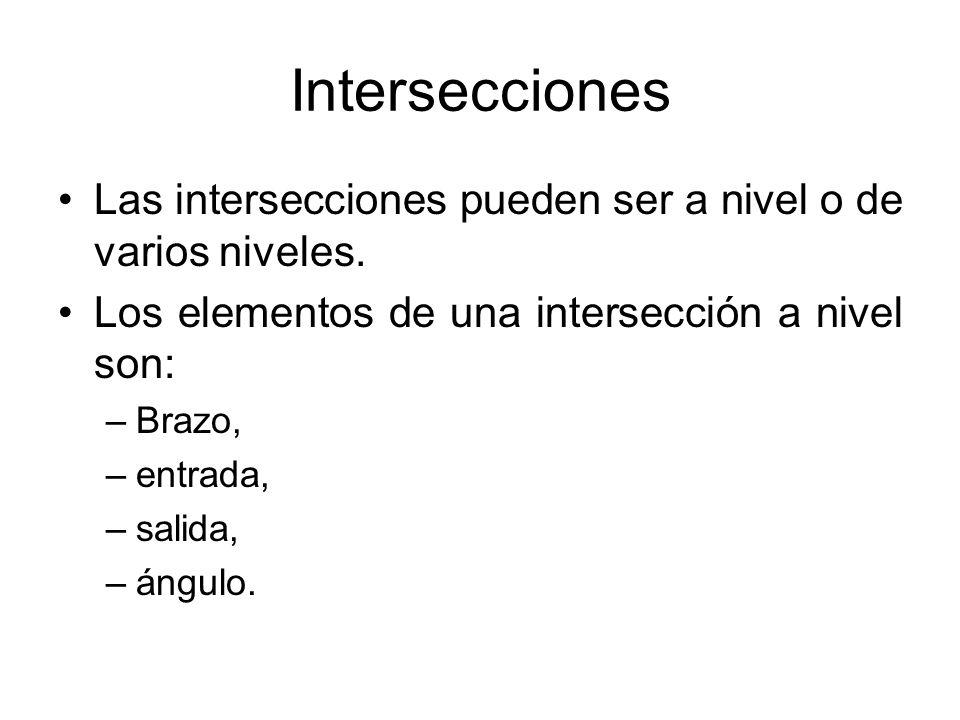 Intersecciones Las intersecciones pueden ser a nivel o de varios niveles. Los elementos de una intersección a nivel son: