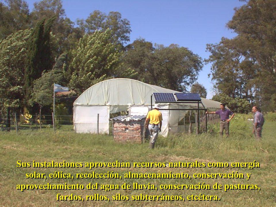 Sus instalaciones aprovechan recursos naturales como energía solar, eólica, recolección, almacenamiento, conservación y aprovechamiento del agua de lluvia, conservación de pasturas, fardos, rollos, silos subterráneos, etcétera.