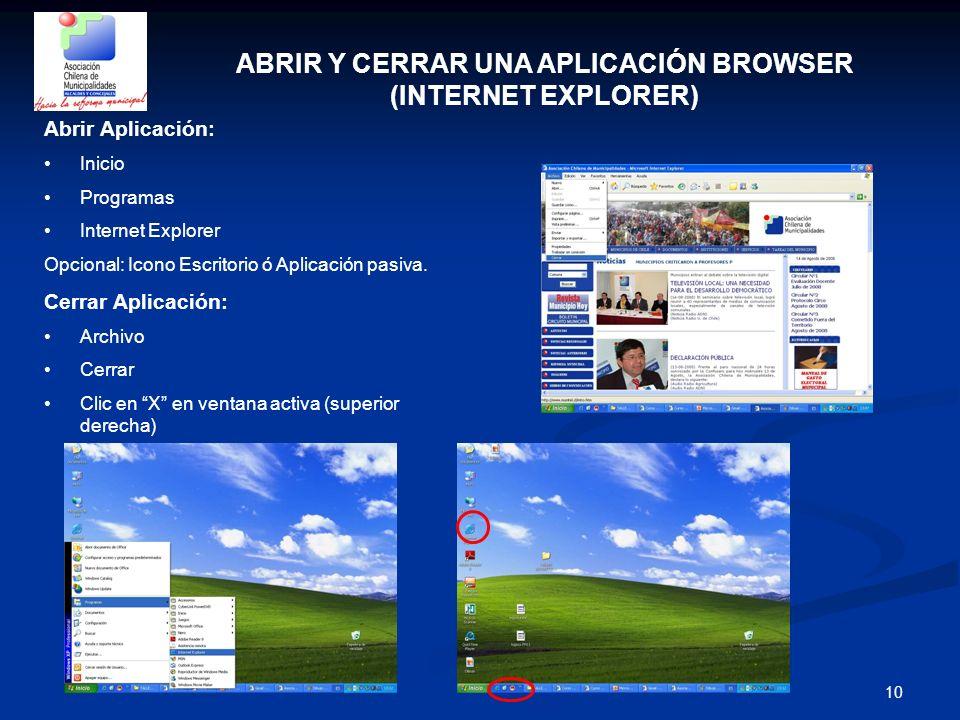 ABRIR Y CERRAR UNA APLICACIÓN BROWSER (INTERNET EXPLORER)