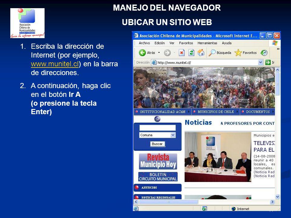 MANEJO DEL NAVEGADOR UBICAR UN SITIO WEB