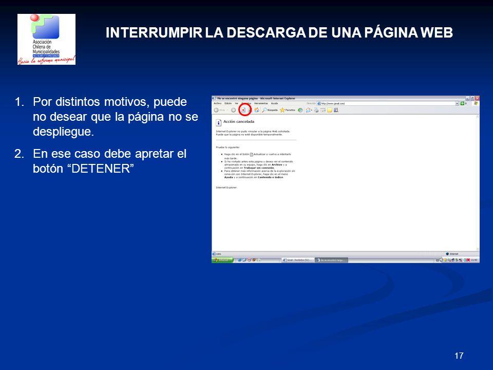 INTERRUMPIR LA DESCARGA DE UNA PÁGINA WEB