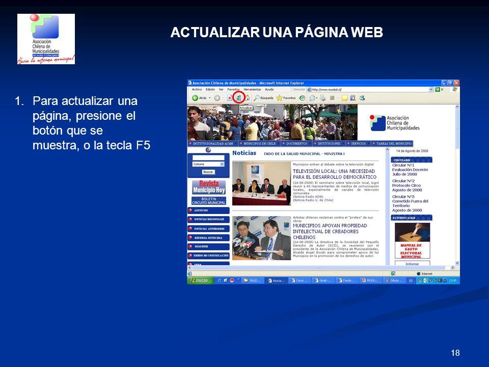 ACTUALIZAR UNA PÁGINA WEB