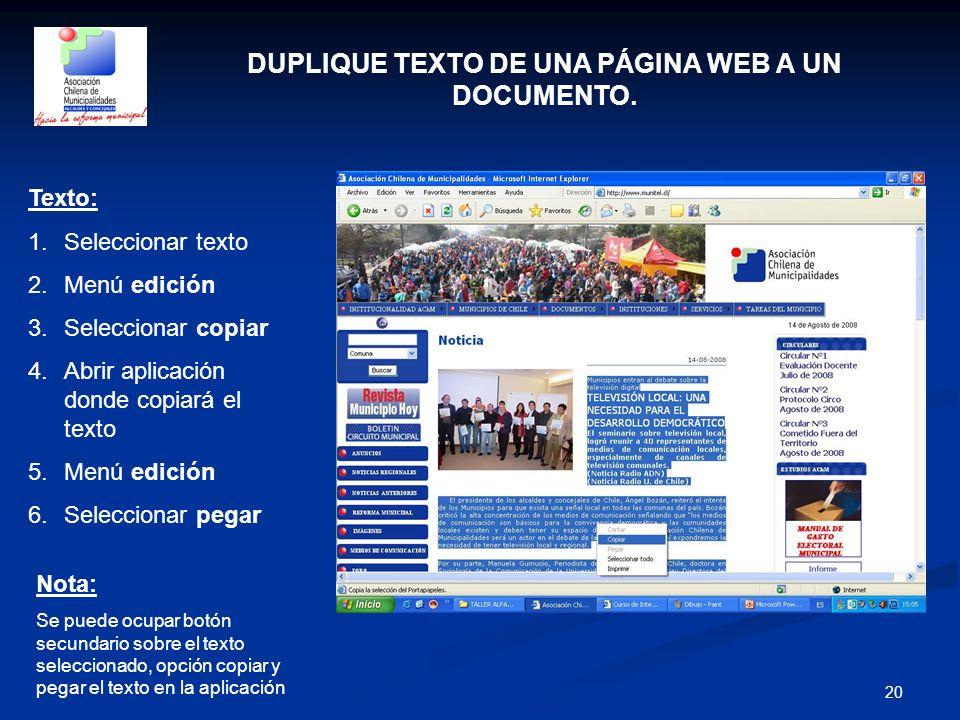 DUPLIQUE TEXTO DE UNA PÁGINA WEB A UN DOCUMENTO.