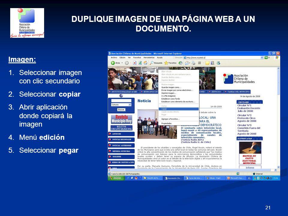 DUPLIQUE IMAGEN DE UNA PÁGINA WEB A UN DOCUMENTO.