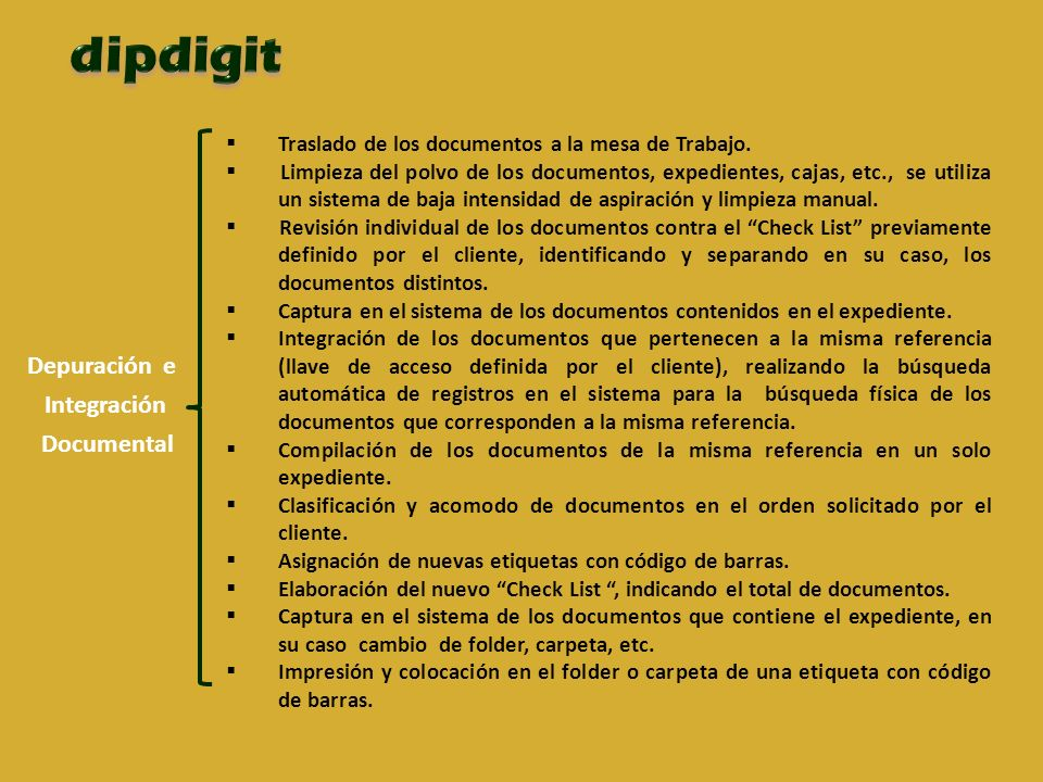 dipdigit Depuración e Integración Documental