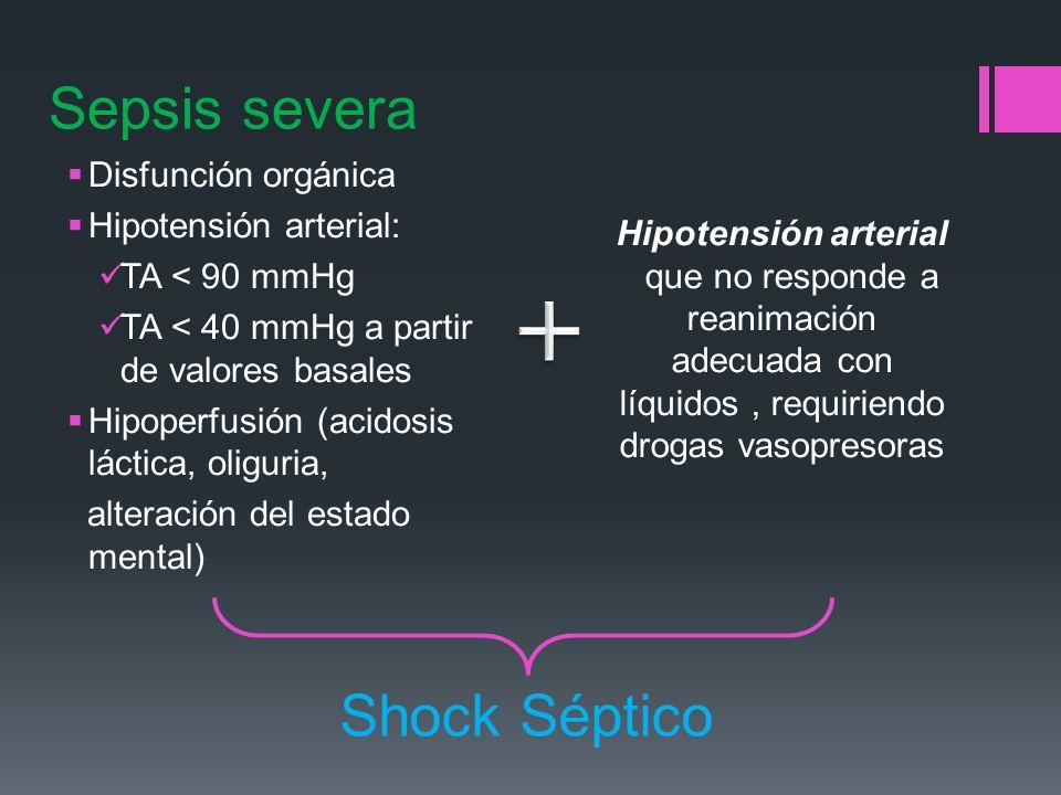 Sepsis severa Shock Séptico Disfunción orgánica Hipotensión arterial: