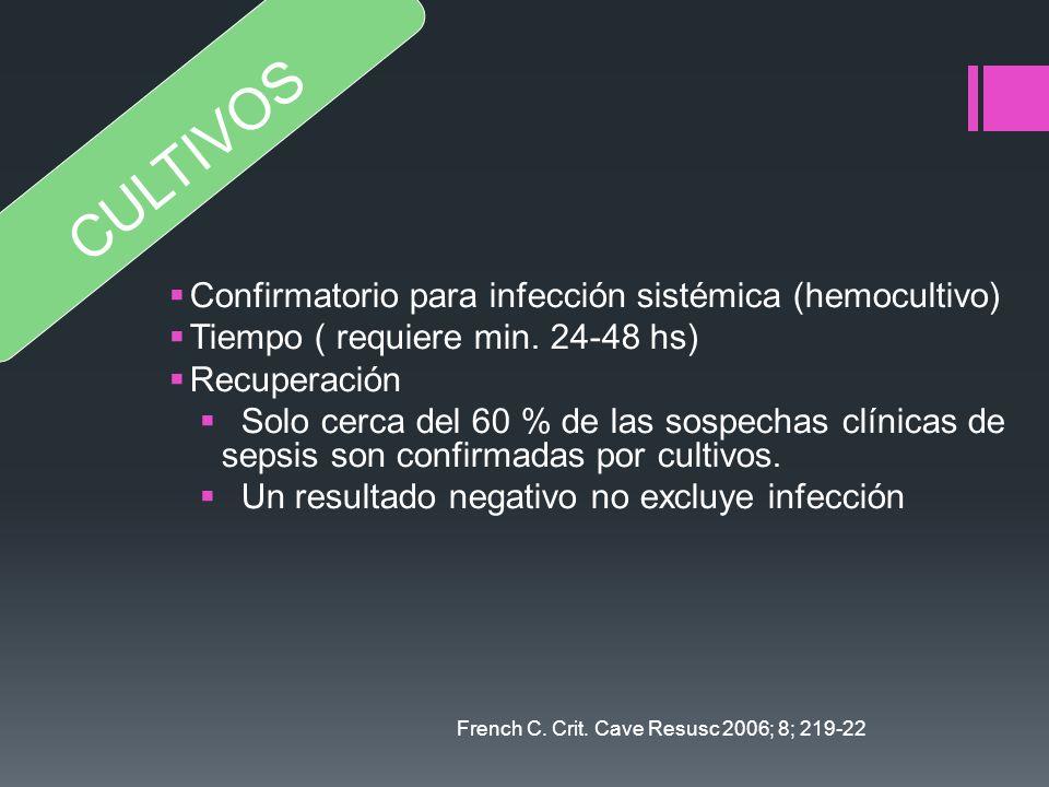 CULTIVOS Confirmatorio para infección sistémica (hemocultivo)