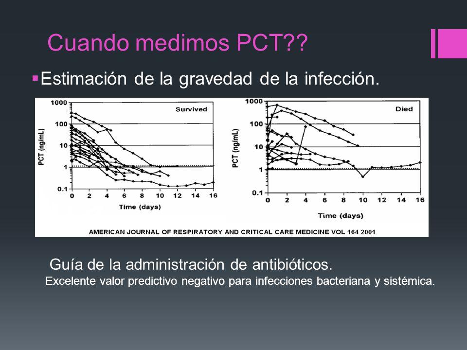 Cuando medimos PCT Estimación de la gravedad de la infección.