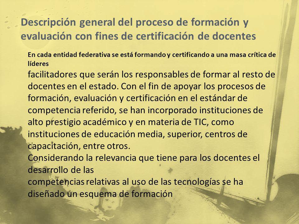Descripción general del proceso de formación y evaluación con fines de certificación de docentes
